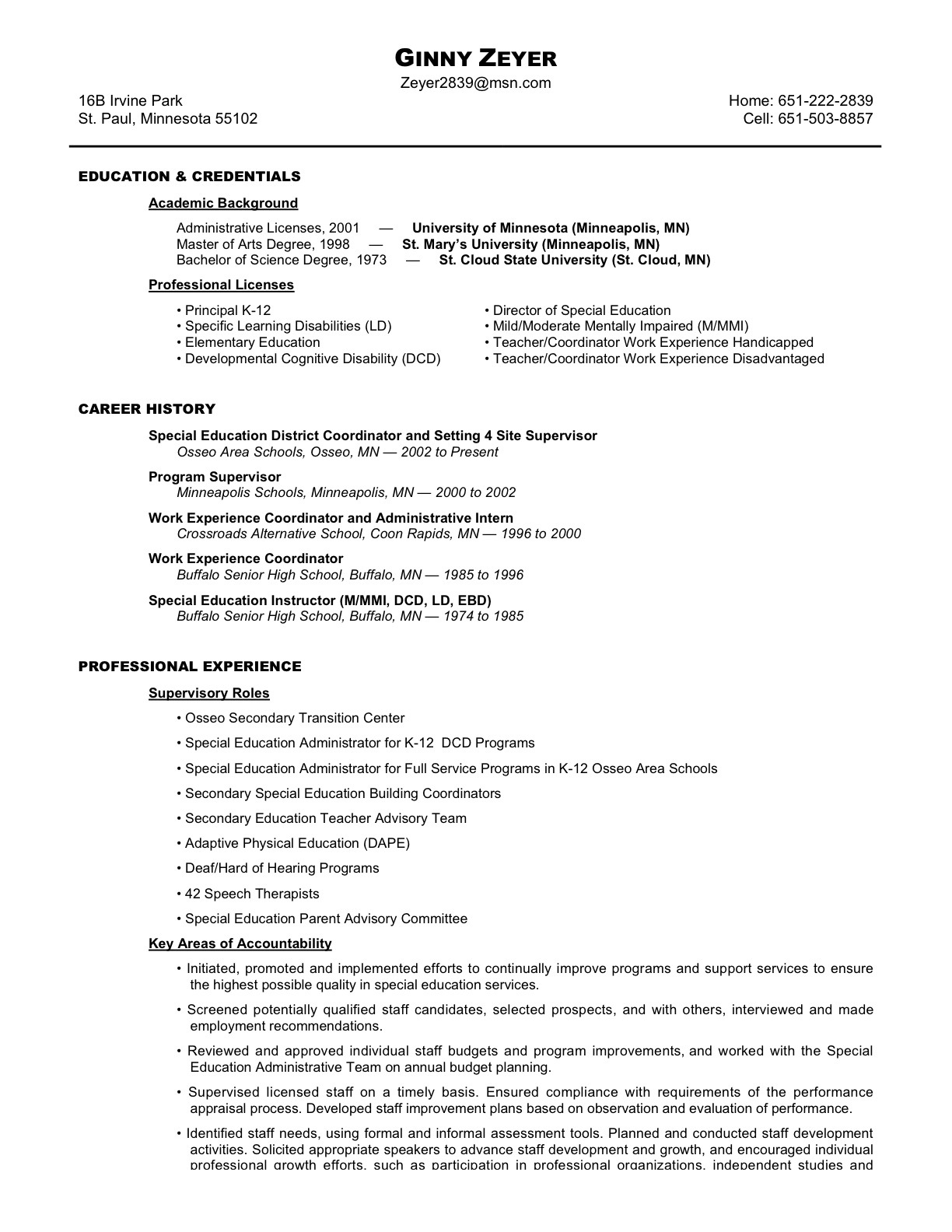 qualifications amp resume ginny zeyer